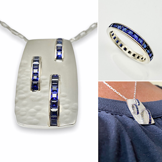 Sapphire gold eternity band redesign into a pendant for a necklace