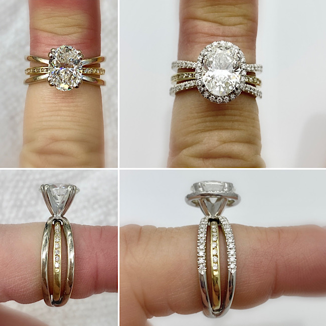 Upgraded wedding rings with a diamond halo and more diamonds in the bands