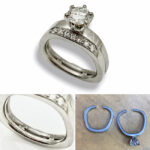 odd shape platinum ring resized and tacked together for easy wear