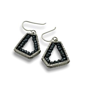 Geode Pentagon Earrings spinel, Sterling silver handmade earrings with black spinel stones in pentagon shape design by Erica Stankwytch Bailey
