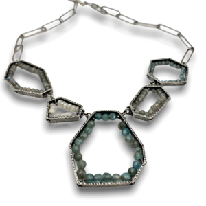 Fragments necklace bead gemstones sterling silver , white sapphires, labradorite, Apatite Design by Erica Stankwytch Bailey
