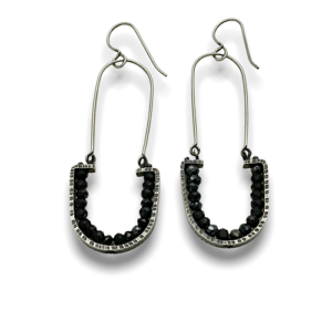 Geode Arch dangle earrings designed by Erica Stankwytch Bailey Sterling silver earrings with facetted black spinel gemstones