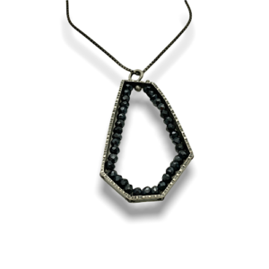 Geode Hexagon black spinel pendant stylish and unique design by Erica Stankwytch Bailey sold @ Formia Design Sterling silver pendant with black spinel stones