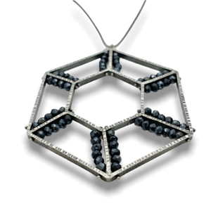 Hexagonal Pendant large in sterling silver with black spinel gemstones on a long chain, jewelry design by Erica Stankwytch Bailey