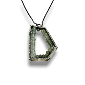 Geode pentagon pendant Aquamarine, cool and stylish necklace deign made in USA