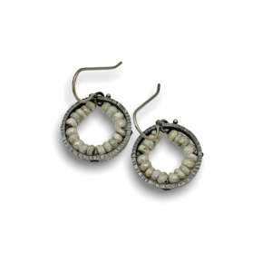 """Geode circle White Sapphire earrings sterling silver with white sapphire beads approx. 3/4"""" dangle"""