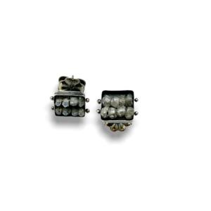 Square post Labradorite earrings
